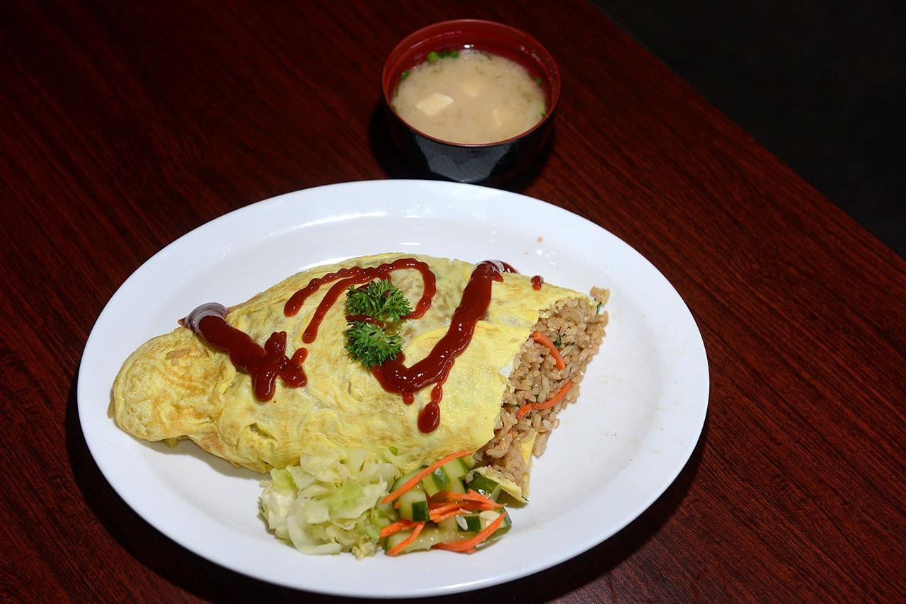 Fried Rice Omelette with Miso Soup