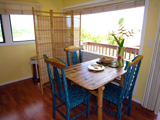 Dining area in Green Coconut Studio in Kapaa, Kauai, Hawaii