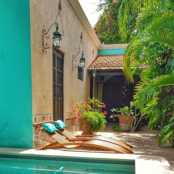 sun loungers, Casa Dos Lirios, Boutique Bed and Breakfast, B&B, Merida, Yucatan, travel Merida, travel Yucatan, Merida B&B, Merida accommodations