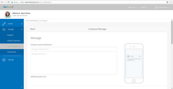 Send Push Notifications to MBizCard Users