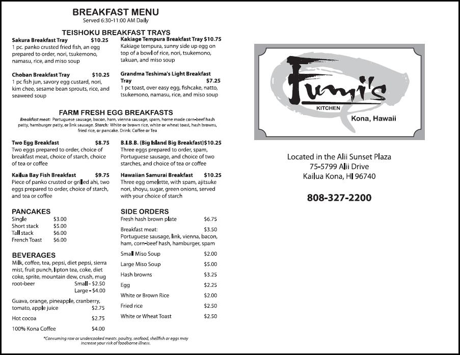 Fumis Kitchen Breakfast Takeout Menu