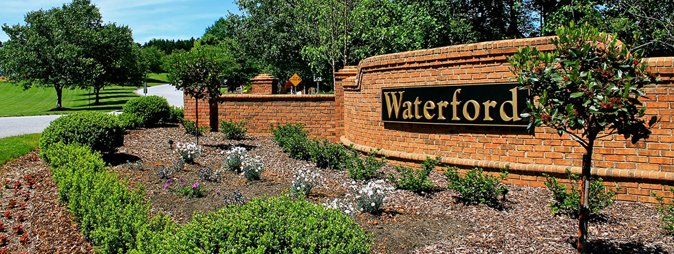 sign at the entrance to Waterford community