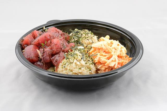 Umekes Poke 808 @Alii Plaza Poke Bowl Filled With Poke, Crab Salad, Furikake on Quinoa