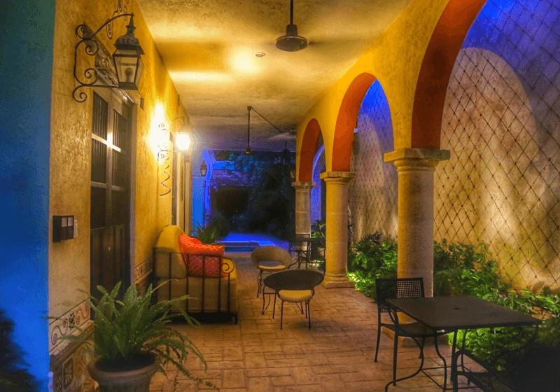 garden, terrace, evening, Casa Dos Lirios, Boutique Bed and Breakfast, B&B, Merida, Yucatan, travel Merida, travel Yucatan, Merida B&B, Merida accommodations