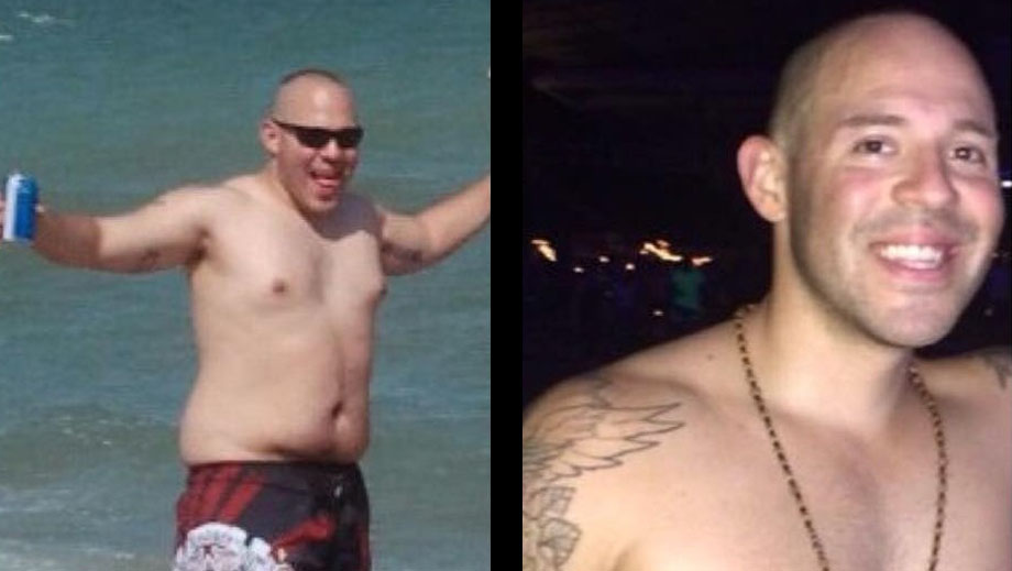 Travis Vega before and after personal training.