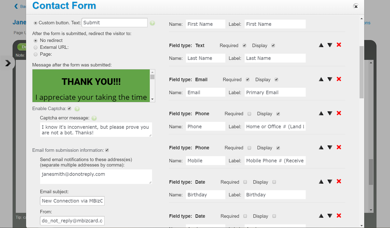 Customize Contact Form