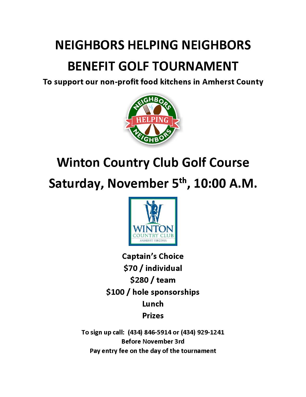 news events neighbors helping neighbors of amherst county hosts first annual golf benefit on nov 5th at winton country club