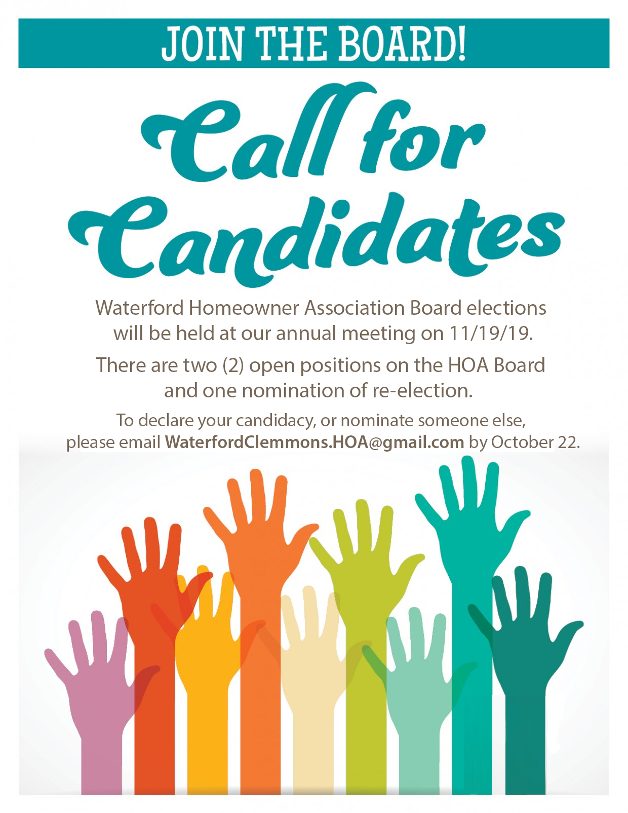 calling all candidates for 2 open board positions